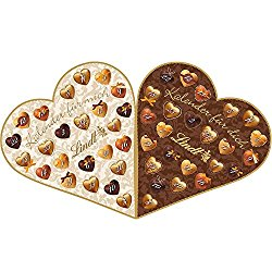 Pärchenadventskalender in Herzform mit Schokolade