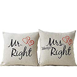 Mr. Right und Mrs. Right Kissen für Paare