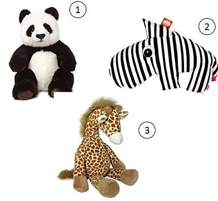 3 coole Plüschtiere für Kinder: Panda, Giraffe und Zebra