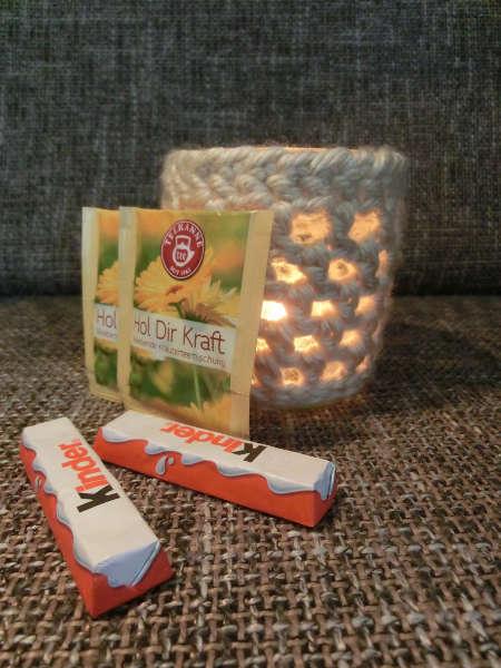 Gehäkelter Kerzenbehälter - Geschenk für die Eltern