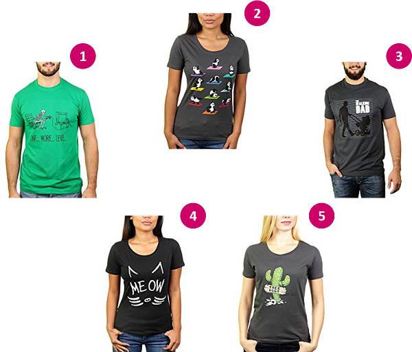 Lustige Beispiel-Motive auf T-Shirts für Männer und Frauen