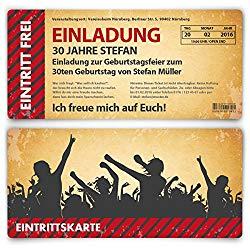 Einladungskarte als Eintrittskarte Retro zum Geburtstag