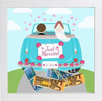 Süßes Geldgeschenk für eine Hochzeit mit Bilderrahmen