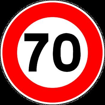 Verkehrsschild 70. Geburtstag